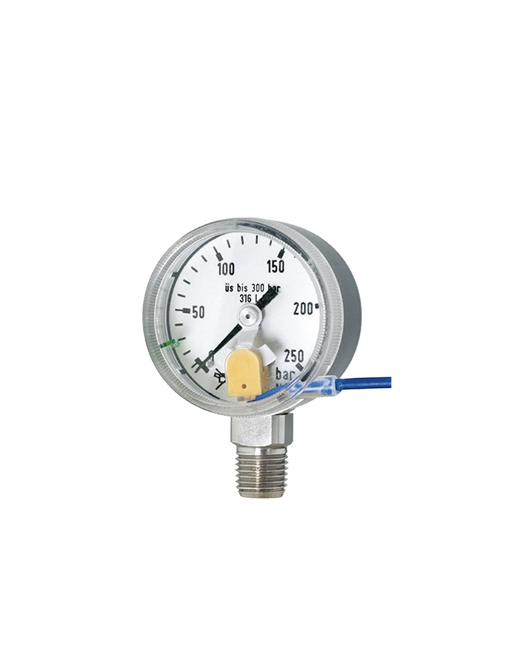 "Special pressure gauges (RChE 50-3) bayonet ring stainless steel nominal case size 50 (2"") with inductive limit switch contact assembly pressure control gauge for gas cylinders ultrapure gas pressure gauges with ECD-quality"