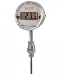 TDSCh100 Lilly Digitalthermometer starre Verbindung zum Fühler Bajonettringgehäuse CrNi-Stahl 3,6 V Lithiumbatterie auswechselbar 4-stellige LCD-Anzeige