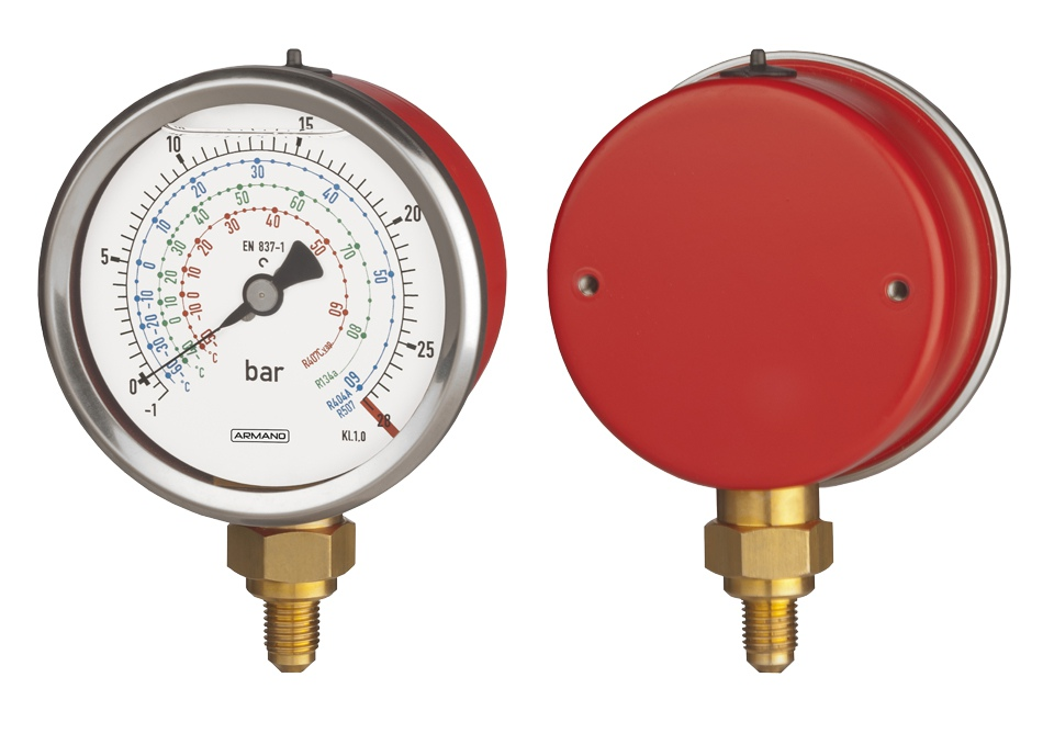 Bourdon tube pressure gauge RChgG 80 – 1 High-pressure side: case red ARMANO Messtechnik GmbH